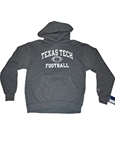Texas Tech Red Raiders Champion Gray Football Hooded Pocketed LS Sweatshirt (L) by Champion