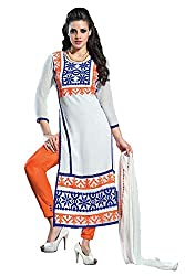 Ecoco Fashion White Embroidery Dress Material
