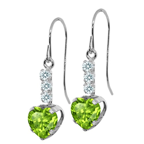 179-Ct-Heart-Shape-Green-Peridot-White-Sapphire-925-Sterling-Silver-Earrings