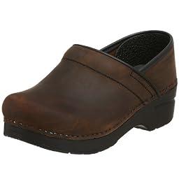Dansko Women\'s Professional Oiled Leather Clog,Antique Brown/Black,38 EU / 7.5-8 B(M) US