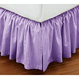 Super Soft Stripe Lavender King Size Ruffle Bed Skirt 100% Cotton
