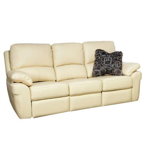 Reclining Sofa - 3 Seater - Faux Leather - Padded Armrests - Chestnut Brown
