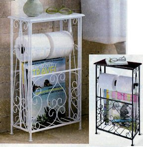 Amazon.com - WROUGHT IRON BATH ORGANIZER - WHITE - Toilet Paper ...