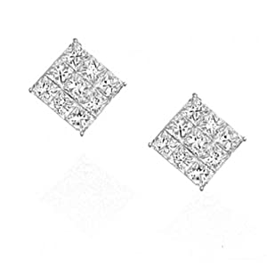 Square Invisible Cut CZ Basket Set Silver Men Unisex Stud Earrings