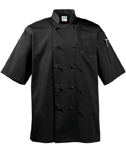 1/2 Sleeve Cotton Executive Chef Coat, Black, Medium