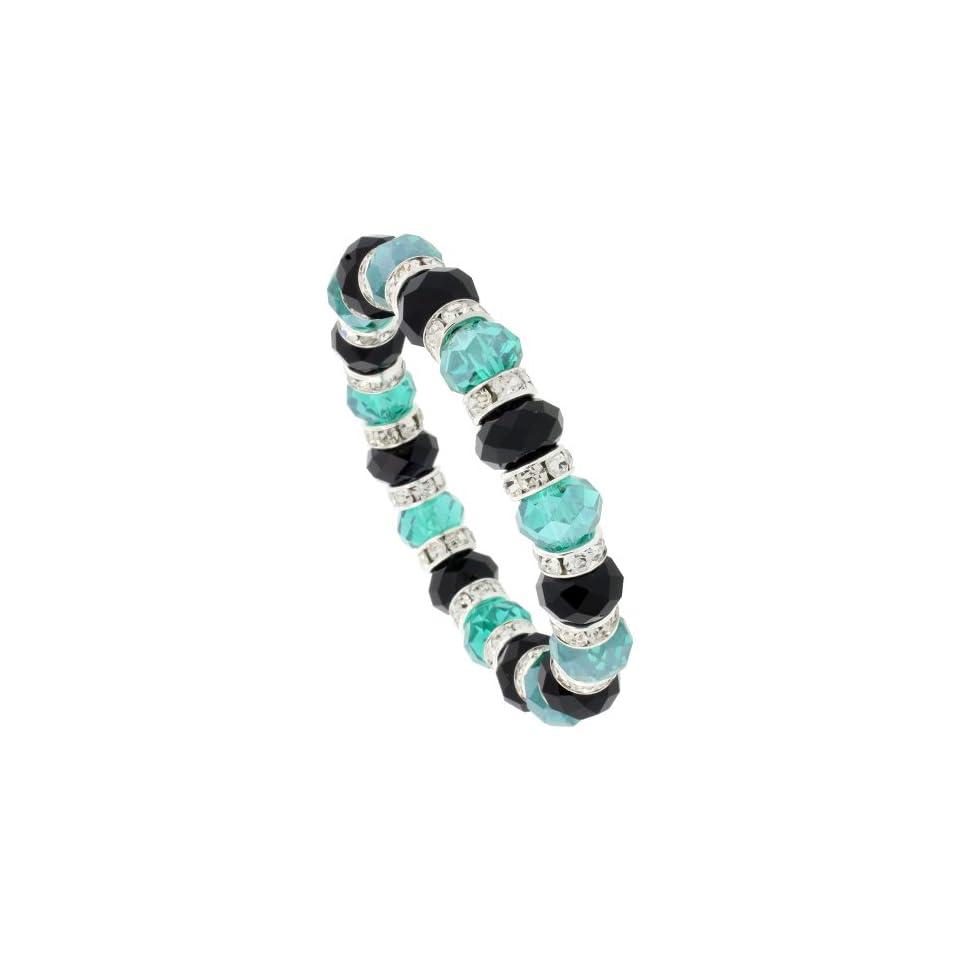 7 in. Black & Emerald Color Faceted Glass Crystal Bracelet on Elastic Nylon Strand, 3/8 in. (10mm) wide
