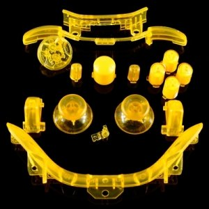 258Stickers® Xbox 360 Transparent Yellow Thumbsticks + D-Pad + Rt Lt + Rb Lb + Insert Abxy Guide + Start Back Sync + Top Middle Bar
