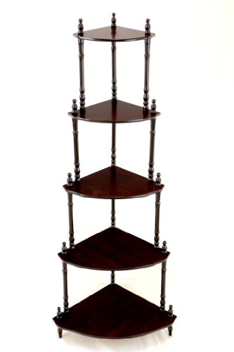 Frenchi Home Furnishing 5-Tier Corner Stand, Cherry