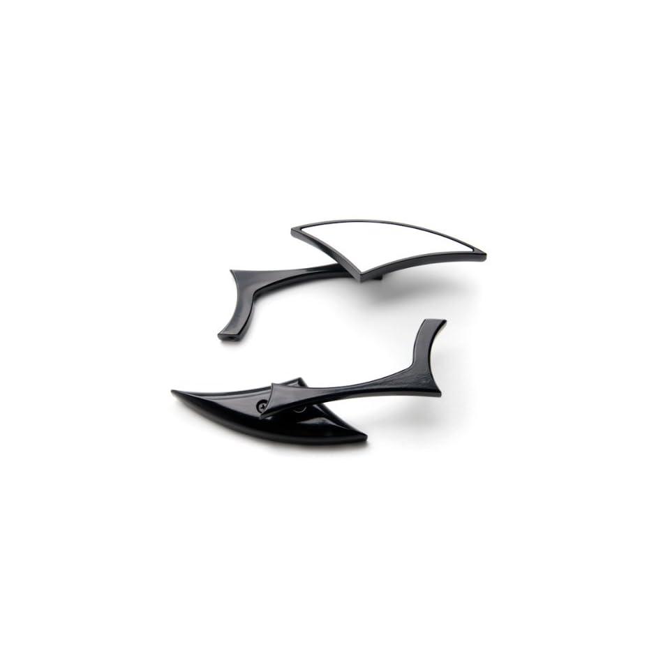 Black Diamond Rearview Side Mirrors Motorcycle Cruiser Chopper Custom w//Adapters