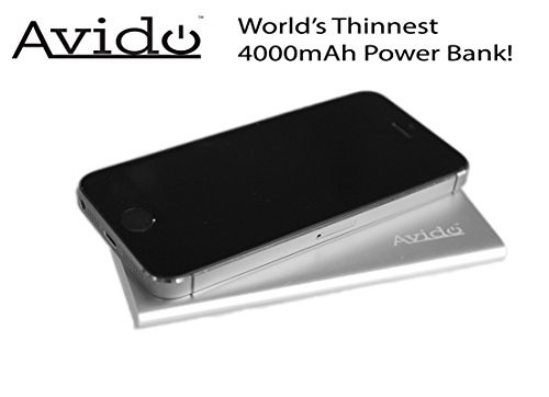 *World's Thinnest* Avido™ 4000mAh 2.1Amp Output Portable Ultra-Slim Power Bank Charger / External Battery Power Pack for iPhone 5S, 5C, 5, 4S, 4, iPad Air, mini, Galaxy S5, S4, S3, Note 3, Nexus 4, HTC One, One 2 (M8), Motorola Droid, Moto X, PS Vita, Gopro, most Smartphones, Tablets and other USB-charged devices - (Retail Packaging) Silver