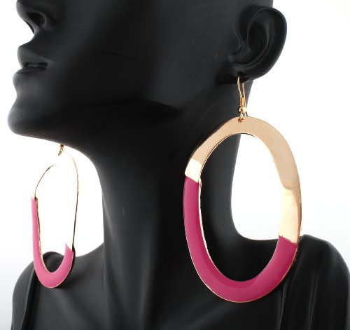 Basketball Wives Gold Oval Shaped with Fuchsia Hoop Earrings Poparazzi