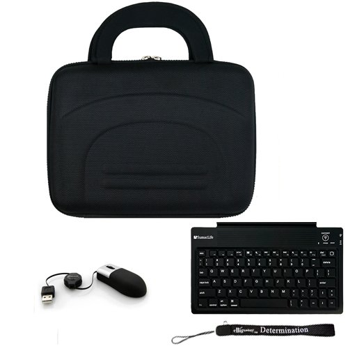 Black Protective Hard Nylon Cube Carrying Smart Case For Asus Eee Pc 1001Pq Netbook + Bluetooth Keyboard + Usb Mini Mouse