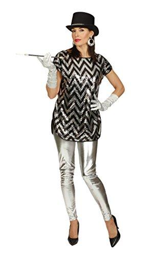 KARNEVALS-GIGANT Pailletten T-Shirt Pailletten Shirt Longshirt schwarz silber für Party Outfit für Damen