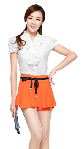 Women Girl Short Sleeve Formal Top Shirt Ladies Work Casual Blouse Ruffle Chiffon Blouse White UK 12