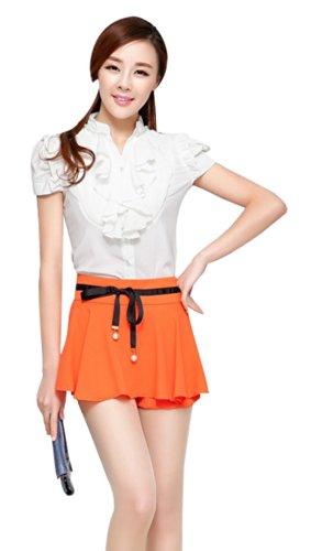 Women Girl Short Sleeve Formal Top Shirt Ladies Work Casual Blouse Ruffle Chiffon Blouse White UK 12