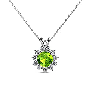 Peridot and Diamond Floral Halo Pendant 1.43 ct tw in 14K White Gold with 18 Inches 14K Gold Chain