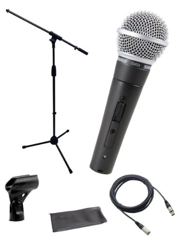 Shure Sm58-S Microphone Bundle With Switch, Mic Boom Stand And Xlr Cable