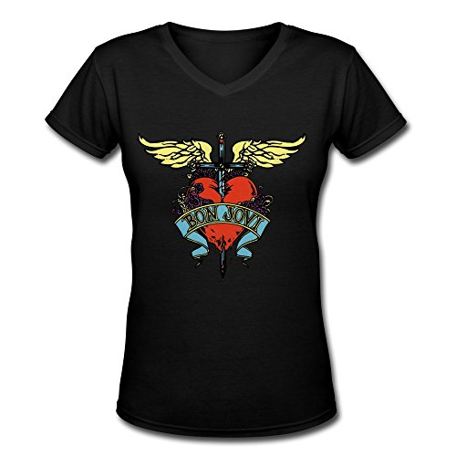 TWSY Women's Bon Jovi V Neck T-Shirt Black