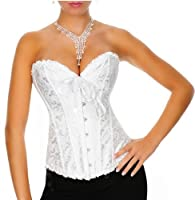 Satin White Vintage Lace Up Boned Corset Basque/G-String, SizeS(6-8), M(8-10), L(10-12), XL(12-14),XXL(14-16),3XL(16-18) makes you look glamorous!