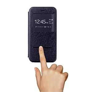"LEIWO Black Flip Hand Sliding Sunroof Intelligence Leahter Case Skin Cover For Apple Iphone Puls 5.5"""