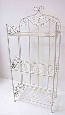 Regal mit 3 Böden Metall weiß H 112 cm Wandregal Standregal Metallregal von HFG auf Gartenmöbel von Du und Dein Garten