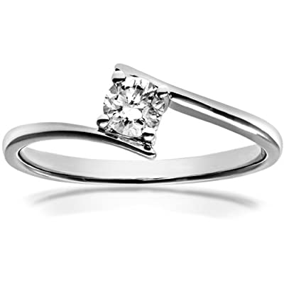 Ariel 18ct White Gold Crossover Engagement Ring, J/I1 Certified Diamond, Round Brilliant