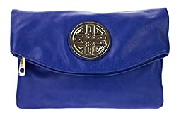 Canal Collection Multi Purpose Soft Foldable PVC Cross Body Clutch with Emblem (Royal Blue)