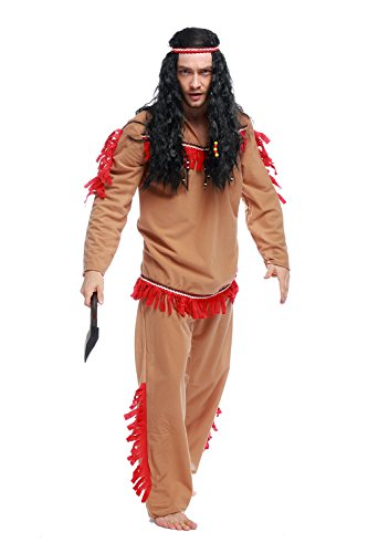 [GoLoveY Men's Indian Costumes with Shirt Pants and Headband] (Lone Ranger Costume Shirt)
