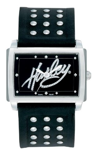 Harley-Davidson® Women's Bulova Watch. Black Dial. Glitter Logo on Dial. Curved Crystal. 76L157