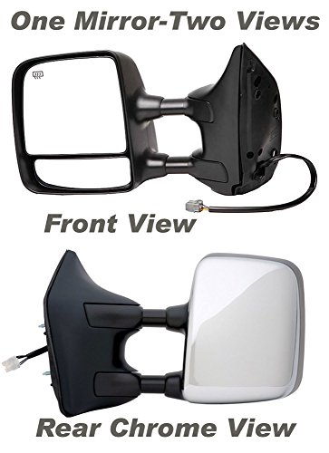 APDTY 0662866 Side View Mirror,Black/Chrome Left Side/Driver Side, Power, Heated, Memory, with Big Tow Package,Paint to Match Plastic Housing(Fits 2004-2010 Nissan Titan LE Model, and 2011-2012 Nissan Titan SL Model)Replaces OEM Part Number(s) 96302ZR30E (Titan Tow Package compare prices)