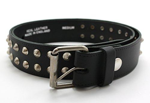 Conico Spike-Studded Belt. Cintura in vera pelle colore nero. Media e Grande Black M 106 cm