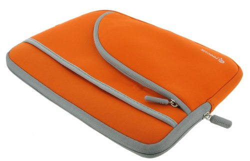rooCASE Netbook Neoprene Sleeve Case for HP Mini 210-1180NR 10.1-Inch Netbook (Invisible Zipper Tri-Pocket - Orange)