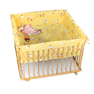 Wooden playpen quadrangular 100x100 cm yellow insert from Serina