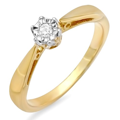 0.05 Carat (ctw) 18k Yellow Gold Plated Sterling Silver Solitaire Round Diamond Ladies Bridal Promise Engagement Ring