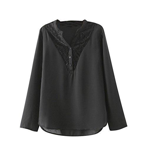 SaiDeng Donna Lace Stitching Camicia A Maniche Lunghe Camicetta Tops Come Immagine S
