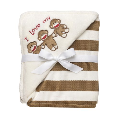 Baby Starters Sock Monkey Striped Blanket, Tan