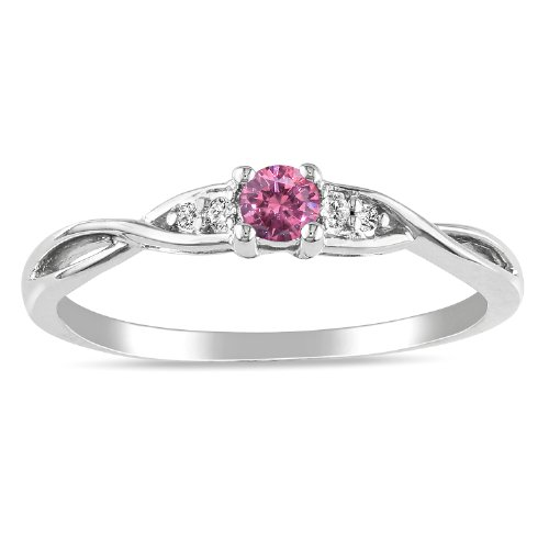 Silver Pink and White Diamond Ring, (.14 cttw, G-H Color, I1:I2 Clarity), Size 6