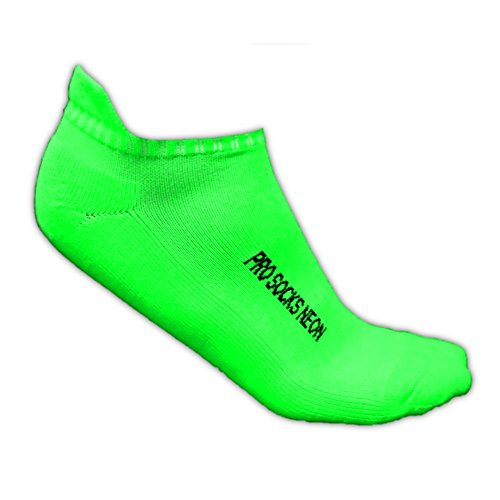 Calzini sportivi fluo nylon spandex rinforzo sul tallone taglia 40-44, Verde fluo