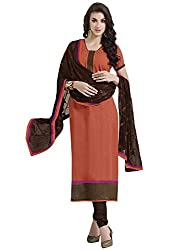 Swapnrang South Cotton Orange Brown Dress Material