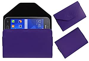 Acm Premium Pouch Case For Samsung Galaxy S Duos 3 Sm-G313hu Flip Flap Cover Holder Purple