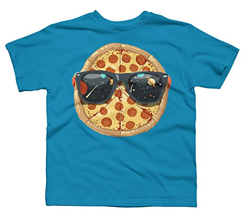 Cool Pizza Boy's Large Turquoise Youth Graphic T Shirt - Design By Humans
