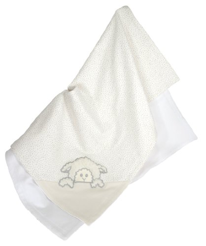 Stephan Baby Infant Girl/Boy Little Lamb Cotton Knit Receiving Blanket, Cream (Discontinued by Manufacturer)