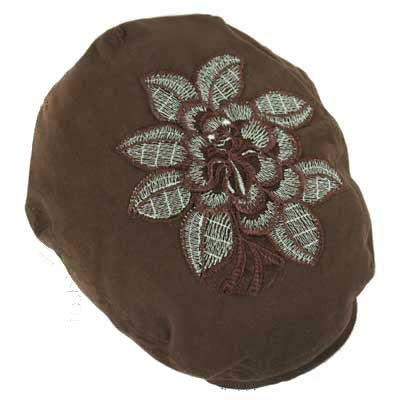 IRIDESCENT BIG FLOWER ON BROWN SEWN BRIM IVY CAP HAT - Buy IRIDESCENT BIG FLOWER ON BROWN SEWN BRIM IVY CAP HAT - Purchase IRIDESCENT BIG FLOWER ON BROWN SEWN BRIM IVY CAP HAT (Luxury Divas, Luxury Divas Hats, Womens Luxury Divas Hats, Apparel, Departments, Accessories, Women's Accessories, Hats)