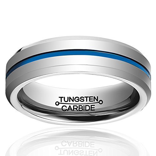 HSG Fashion 6mm High Polished Blue Line Tungsten Carbide Ring Mens Wedding Band (Dean Winchester Blue Steel compare prices)