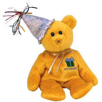 1 X TY Beanie Baby - NOVEMBER the Teddy Birthday Bear (w/ hat) - 1