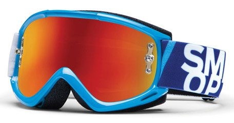 2013 SMITH FUEL V1 MAX MIRROR MOTOCROSS MX GOGGLES (CYAN BLUE)