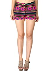 Aaliya Woman's Cotton jacquardShorts- Multicolor-S