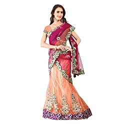 Orange And Red With Net Designer Lehenga Choli