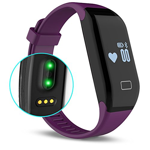 Fitness Tracker with Heart Rate monitor, E3 Activity Watch Step Walking Sleep Counter Wireless Wristband Pedometer Exercise Tracking Sweatproof Sports Bracelet for Android and iOS Purple, EIISON