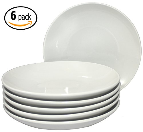 ITI Ceramic Dinner Coupe Pasta Salad Plates with Pan Scraper, 6-Pack (8 Inch, Pure White) (Pasta Plates And Bowls Set compare prices)